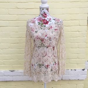 Golden Ivory Crocheted Lace Top